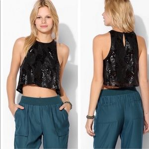Urban Outfitters Pins & Needles Black Sequin Crop